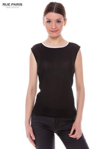 Czarna koszula w kropki z kontrastową lamówką