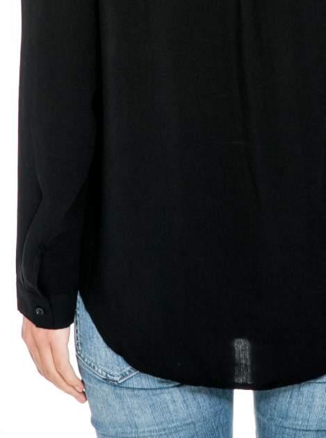 Czarna koszula z haftowanym kołnierzykiem                                  zdj.                                  9