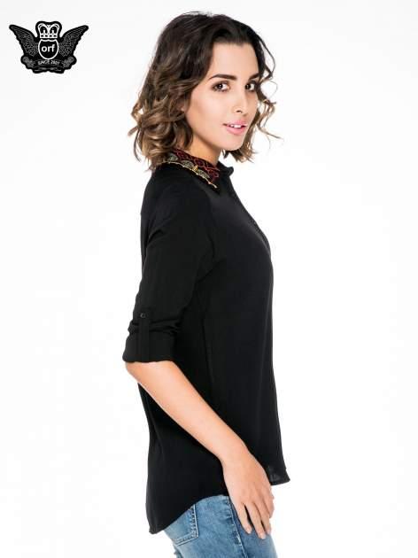 Czarna koszula z haftowanym kołnierzykiem                                  zdj.                                  5