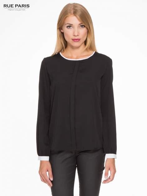 Czarna koszula z kontrastową lamówką przy dekolcie i mankietami                                  zdj.                                  1