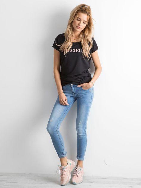 Czarna koszulka damska z napisem                              zdj.                              4