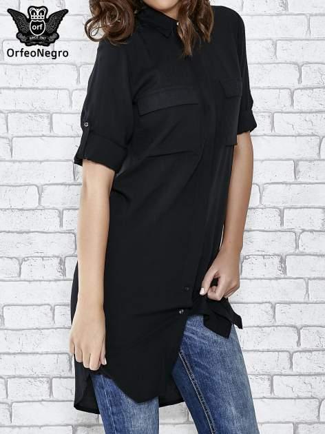 Czarna koszulotunika z kieszonkami                                  zdj.                                  1