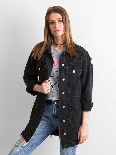 Czarna kurtka jeansowa z przetarciami                              zdj.                              1