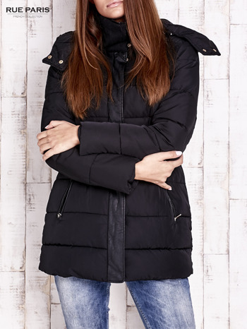 Czarna kurtka puchowa ze skórzanymi wstawkami                                  zdj.                                  1