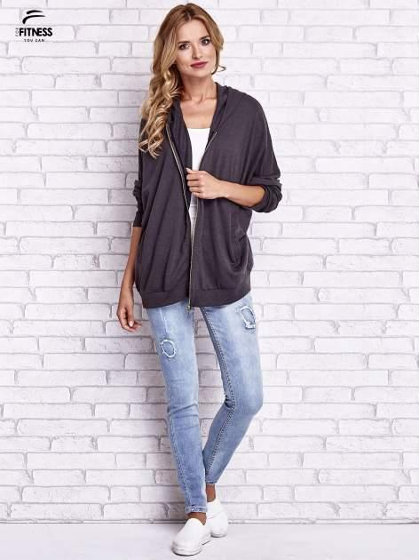 Czarna melanżowa bluza oversize                                  zdj.                                  10