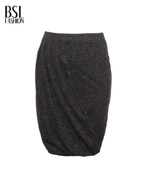 Czarna melanżowa spódnica z drapowaniem                                  zdj.                                  5