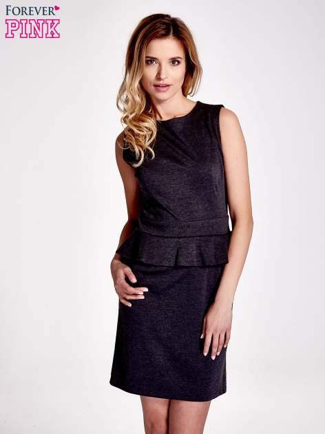 Czarna melanżowa sukienka z baskinką