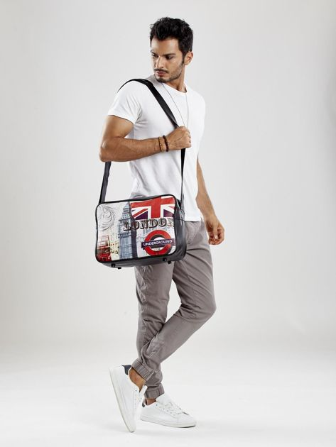 Czarna męska torba na ramię z nadrukiem                              zdj.                              5