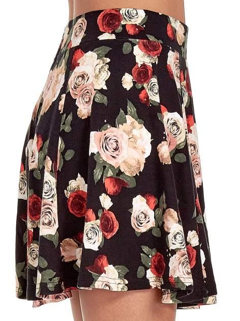Czarna mini spódnica skater w kwiaty                                  zdj.                                  6