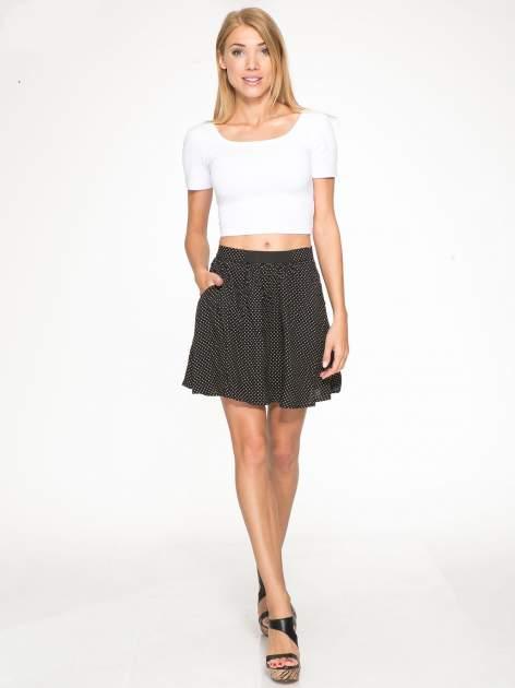 Czarna mini spódnica w kropki                                  zdj.                                  2