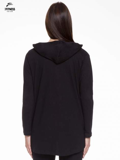 Czarna otwarta bluza dresowa z kapturem                                  zdj.                                  4