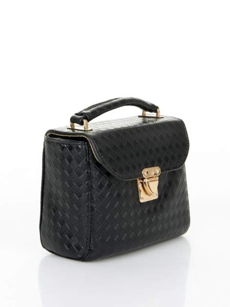 Czarna pikowana mini torebka kuferek w stylu retro                                  zdj.                                  2