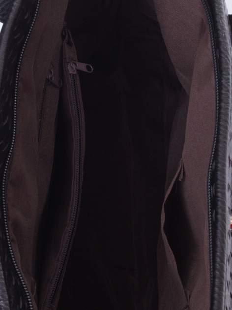 Czarna pleciona torba shopper bag ze złotym detalem                                  zdj.                                  5