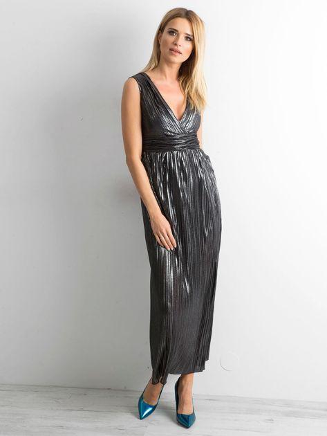 Czarna plisowana sukienka maxi                              zdj.                              1
