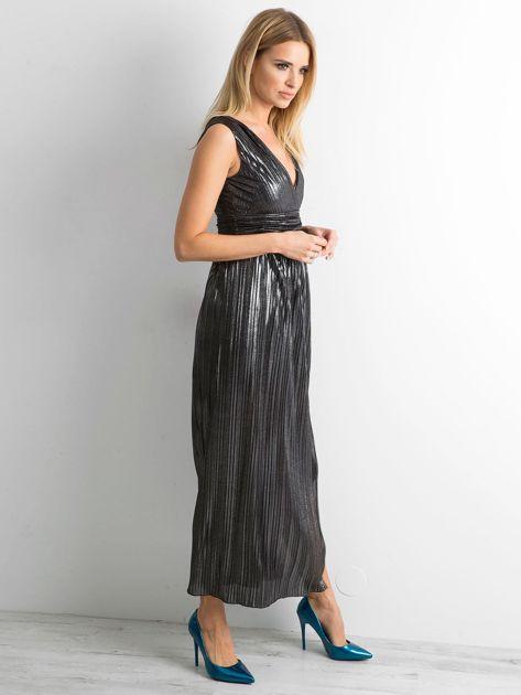 Czarna plisowana sukienka maxi                              zdj.                              3