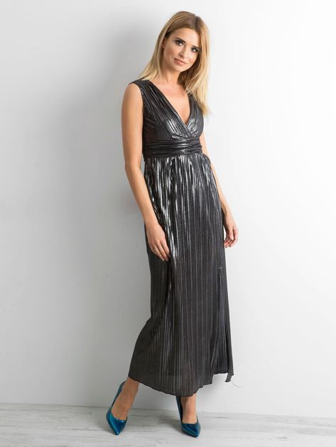 Czarna plisowana sukienka maxi                              zdj.                              4