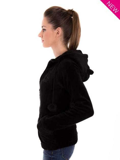 Czarna pluszowa bluza z kapturem z uszkami i pomponami                                  zdj.                                  3