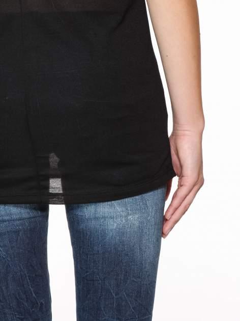 Czarna półtransparentna bluzka z łódkowym dekoltem i rękawami 3/4                                  zdj.                                  6