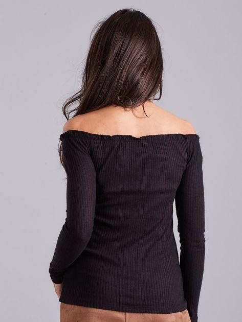 Czarna prążkowana bluzka hiszpanka                              zdj.                              2