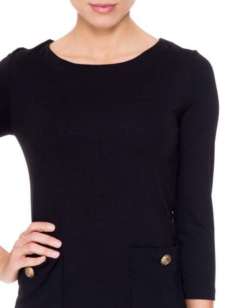 Czarna prosta sukienka z kieszonkami i suwakiem z tyłu                                  zdj.                                  5