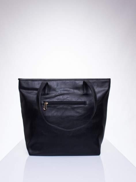 Czarna prosta torba shopper bag ze złotymi okuciami                                  zdj.                                  3