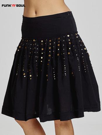 Czarna rozkloszowana spódnica z cekinami Funk n Soul