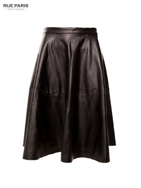 Czarna skórzana spódnica midi szyta z półkola                                  zdj.                                  4