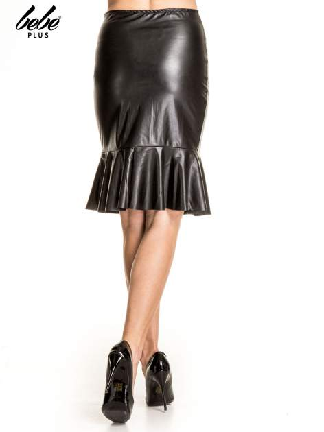 Czarna skórzana spódnica z falbaną                                  zdj.                                  4