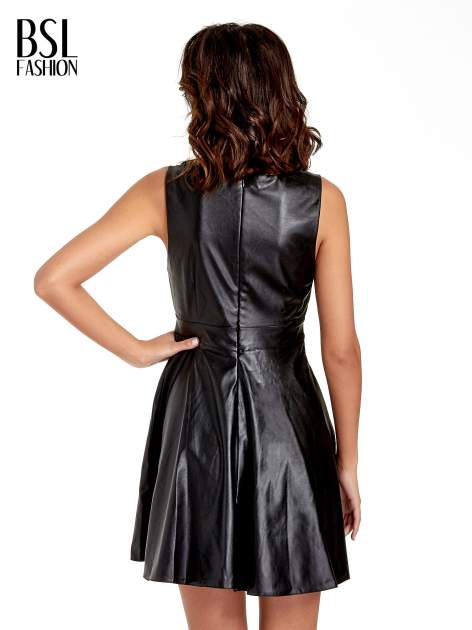 Czarna skórzana sukienka cut out                                  zdj.                                  4