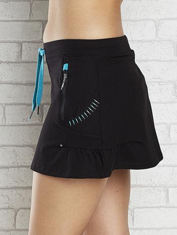 Czarna spódnica dresowa z falbanką i troczkiem                                  zdj.                                  5