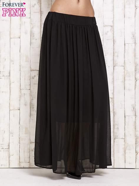 Czarna spódnica maxi na gumkę w pasie                                  zdj.                                  1
