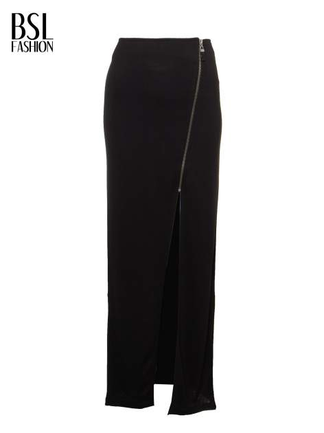 Czarna spódnica maxi z asymetrycznym zamkiem                                  zdj.                                  2