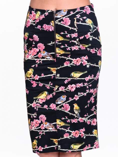 Czarna spódnica midi w ptaszki                                  zdj.                                  5