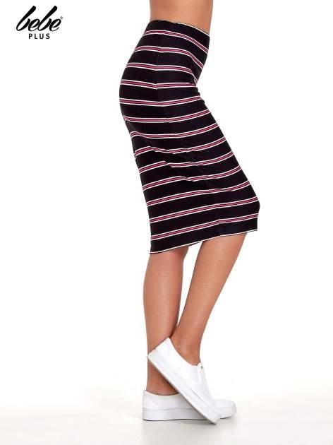 Czarna spódnica midi w różowe paski                                  zdj.                                  3