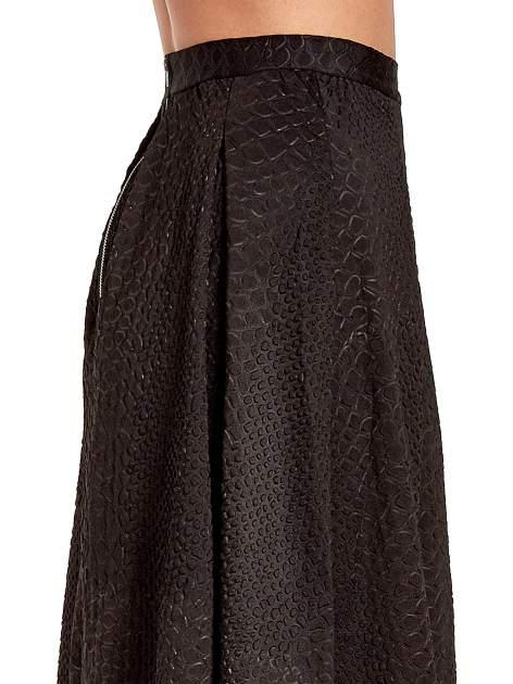 Czarna spódnica midi z kontrafałdami we wzór skóry węża                                  zdj.                                  6