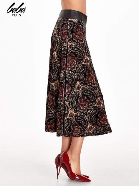 Czarna spódnica midi z nadrukiem ornamentowym                                  zdj.                                  3