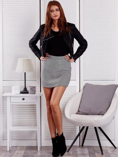 Czarna spódnica mini w jodełkę                              zdj.                              4