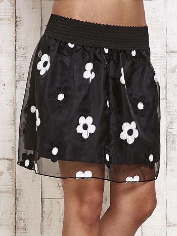 Czarna spódnica mini w kwiaty