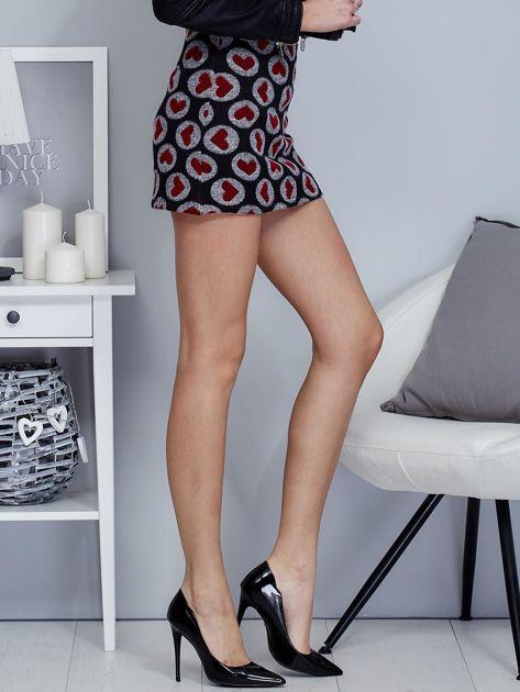 Czarna spódnica mini w serduszka                                  zdj.                                  5