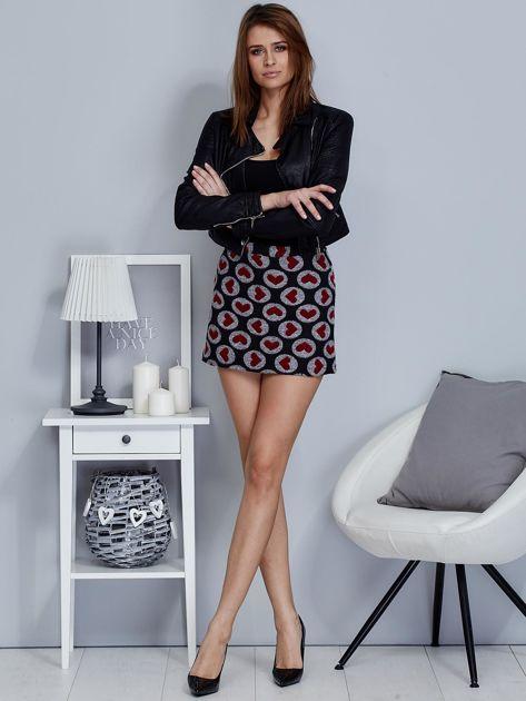 Czarna spódnica mini w serduszka                                  zdj.                                  4