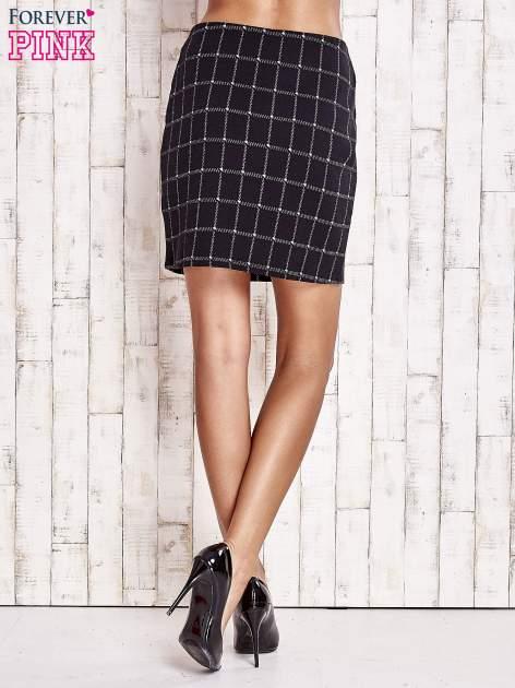 Czarna spódnica z graficznym wzorem i suwakami                                  zdj.                                  4