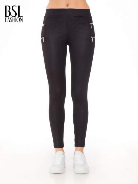 Czarna spodnie tregginsy tłoczone w geometryczny wzór