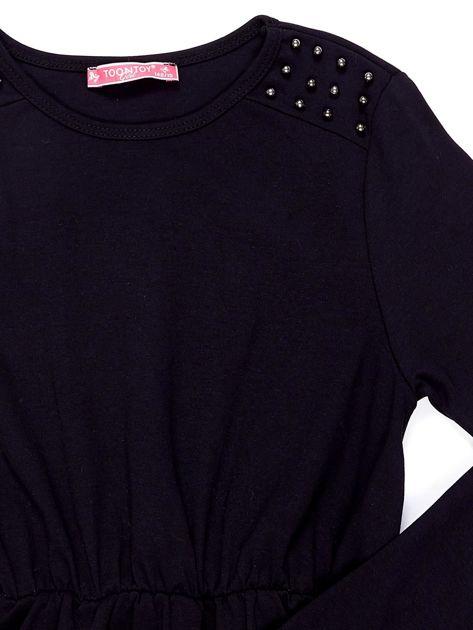 Czarna sukienka dla dziewczynki z perełkami                              zdj.                              7