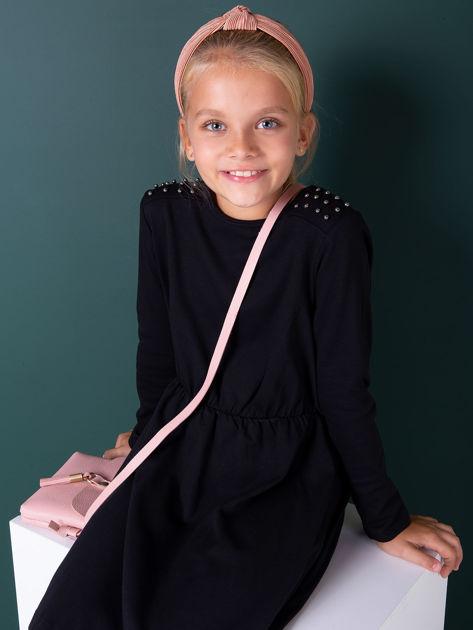 Czarna sukienka dla dziewczynki z perełkami                              zdj.                              1