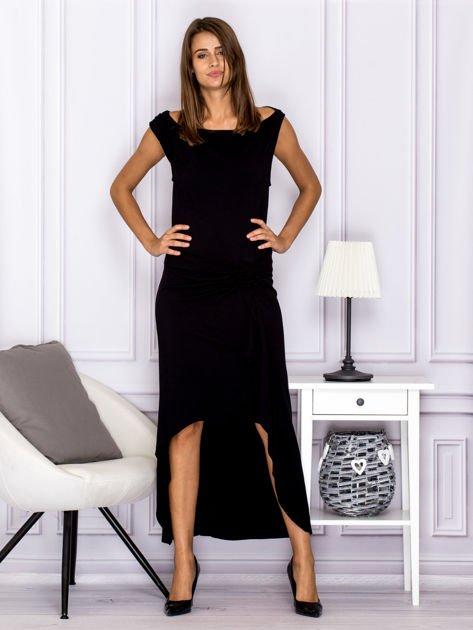 Czarna sukienka maxi z dłuższym tyłem                                  zdj.                                  4