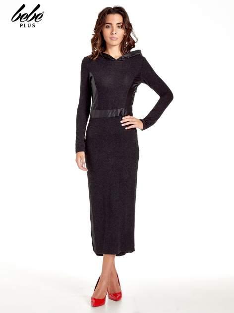 Czarna sukienka maxi z kapturem                                  zdj.                                  1
