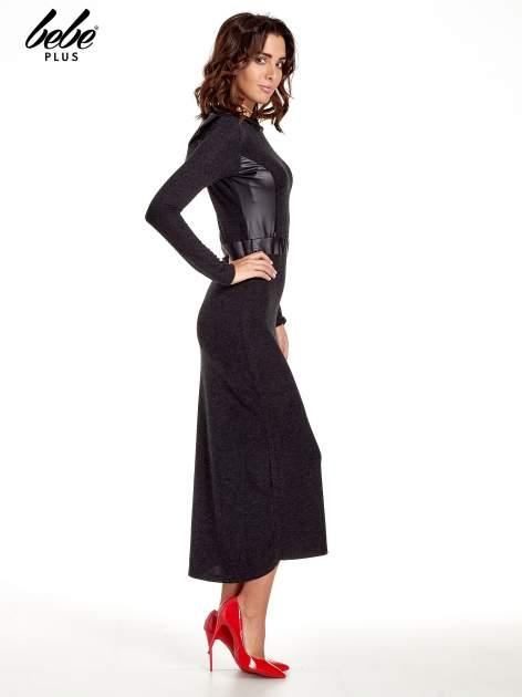 Czarna sukienka maxi z kapturem                                  zdj.                                  3