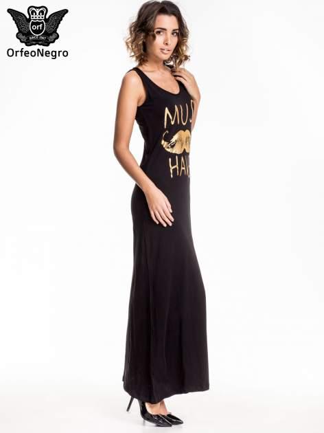 Czarna sukienka maxi z napisem MUST HAVE i motywem moustache                                  zdj.                                  3