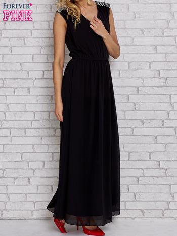 Czarna sukienka maxi z pagonami z dżetów                                  zdj.                                  3