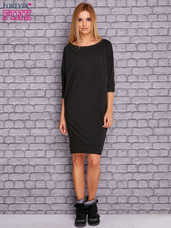 Czarna sukienka oversize ze ściągaczem                                  zdj.                                  2